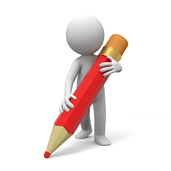 Gubbe med rödpenna som markerar korrekturfel.