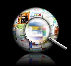 Förstoringsglas mot en glob av webbsidor.